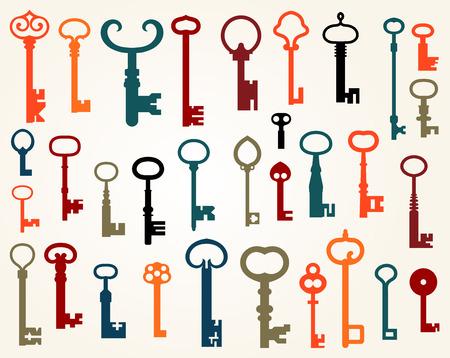 key in door: Set of old keys