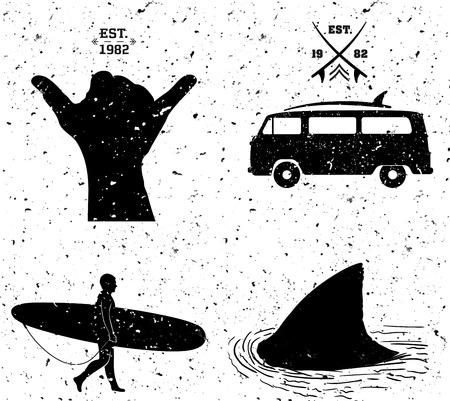 finger fish: surfing designs, grunge style. Vector