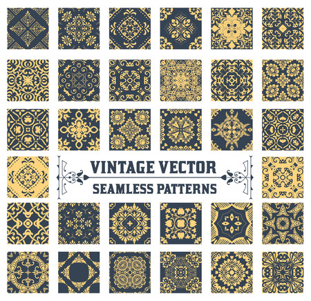 grabado antiguo: 34 Seamless Patterns Colección de fondo Vectores