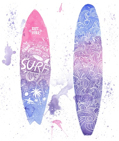 Watercolor surfing design. All elements by layers Illustration
