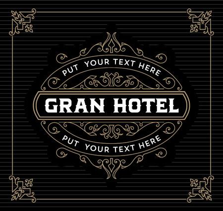 Vintage logo template, Hotel, Restaurant, Business or Boutique Identity. Design with Flourishes Elegant Design Elements. Royalty, Heraldic style .Vector Illustration