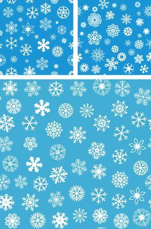 flocon de neige: Contexte 3 Snowflakes Seamless set Illustration
