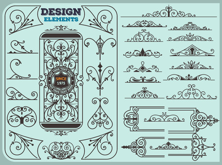 Vintage Ornaments Decorations Design Elements Stock Illustratie