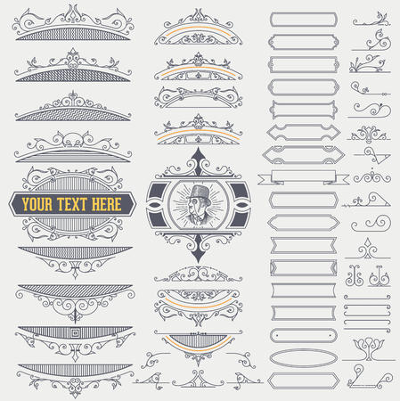 Kit of Vintage Elements for Banners, Invitations, Posters, Placards, Badges or Logotypes.