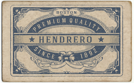 label frame: Retro label with cracked texture