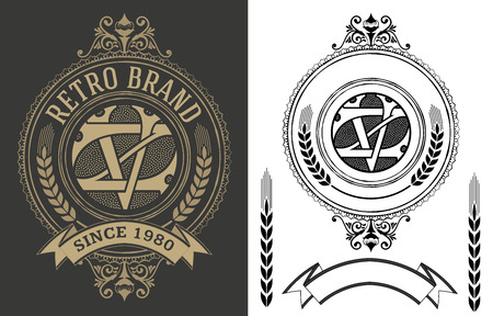 Retro label with monogram and elements Illustration