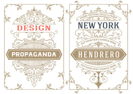 marcos decorativos: Tarjetas de la vendimia. vector plantilla.