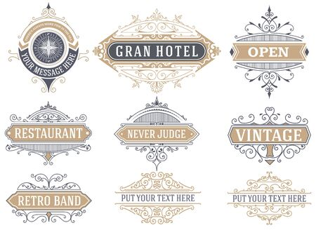 vintage paper: 9 Labels and banners. Vector Illustration