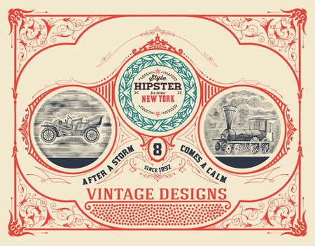 tren: Diseño de tarjeta con el grabado y detalles florales. Organizado por capas. Vector Vectores