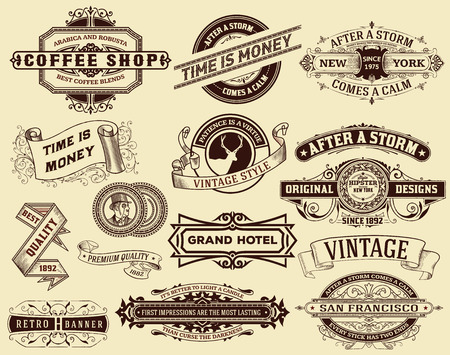 ephemera: 15 Labels and banners. Elements by layers Illustration