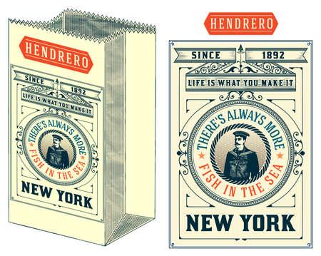 ephemera: Nautical label card with old paper bag.
