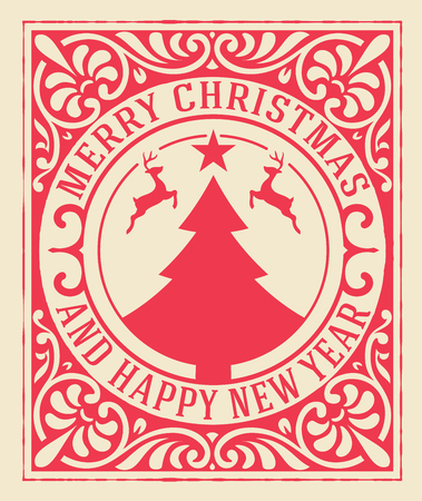 Christmas greeting card background. vintage ornament decoration with Merry Christmas holidays and Happy new year message.  イラスト・ベクター素材