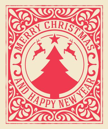 feriado: Fondo de la tarjeta de felicitación de Navidad. decoración de ornamento de la vendimia con las vacaciones Feliz Navidad y feliz año nuevo mensaje. Vectores