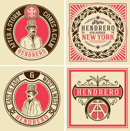 victorian vintage: Retro designs set. vector