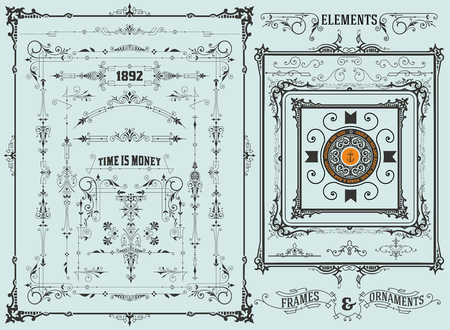 with sets of elements: Retro set elements. Vector
