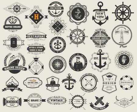 セットやビンテージ徽章。ベクター デザイン要素、アイデンティティ、オブジェクト、ラベル、およびバッジ。