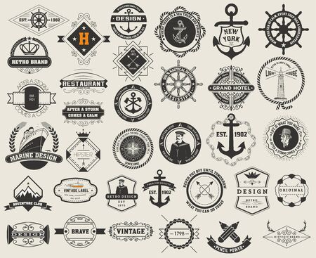 set and Vintage Insignias. Vector design elements, , identity, objects, labels,and badges.