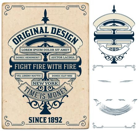 ephemera: Old card design with elements by layers