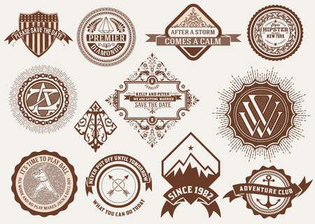 insignias: Insignias and Badges set.