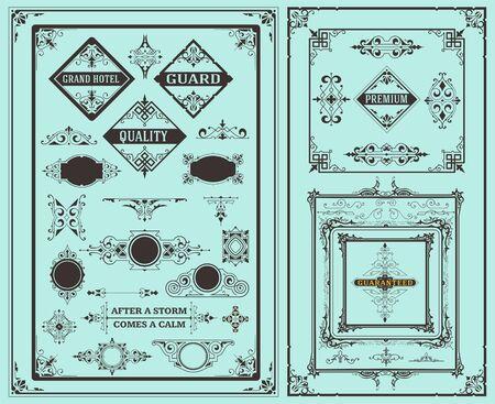 corner decoration: Retro set of vintage elements