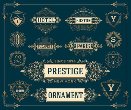 logo art: Set of monograms, logos and banners.