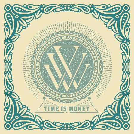 art logo: Vintage logo template, Hotel, Restaurant, Business or Boutique Identity. Design with Flourishes Elegant Design Elements.Vector