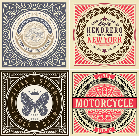 baroque border: Retro designs set. vector