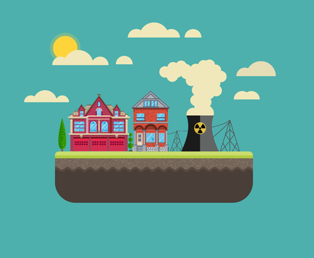 green power: Ecology Concept. Environment, Green Energy and Nature Pollution Design. Nuclear power Plant. Flat Style. Illustration