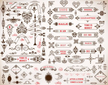 hearts and flowers: Mega set of design elements