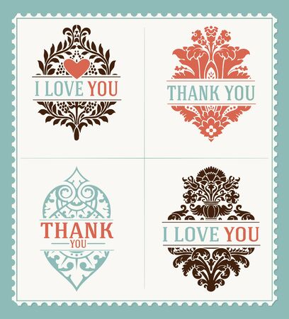 thank you cards: Thank You and I Love You messages Greeting Cards template.  Illustration