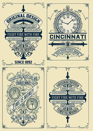vintage: desenhos antigos set. Vetor