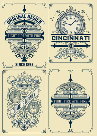 round style: Old designs set. Vector