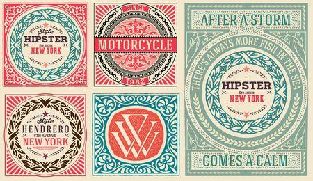 old world: Retro cards set, with Floral Details Illustration