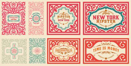 ephemera: Retro cards set, with Floral Details Illustration