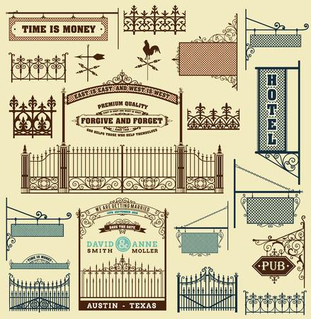 puertas de hierro: portillo forjado hierro, cerca y puertas rejas aislados Vectores