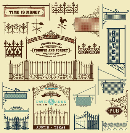 fences: wrought iron wicket, fence and gates grilles isolated