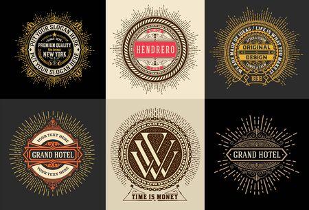 ビンテージ テンプレート、ホテル、レストラン、ビジネスやブティックのアイデンティティ。活気づくエレガントなデザイン Elements.Vector デザイン
