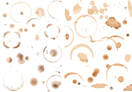 faience: Set of variuos coffee stains isolated on white