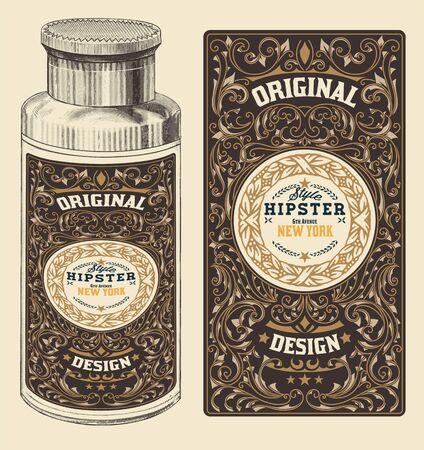 bottle of medicine: Retro design with Bottleand Floral Elements