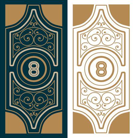 ephemera: Vertical card. Retro Style