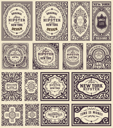 escudo: tarjetas Retro establecido. Elementos organizados por capas. Vectores