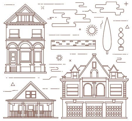 tree service pictures: Flat illustration set. Urban and village elements.