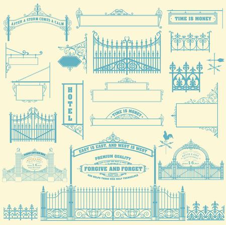 verjas: Conjunto de hierro forjado portillo, cercas y puertas rejas.