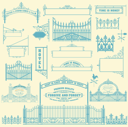 gates: Set of wrought iron wicket, fence and gates grilles.