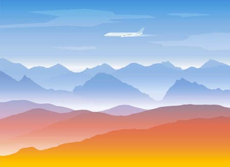 hill top: mountains peaks background with plane Illustration