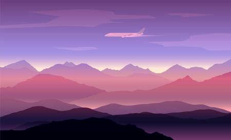 peaks: mountains peaks background with plane Illustration