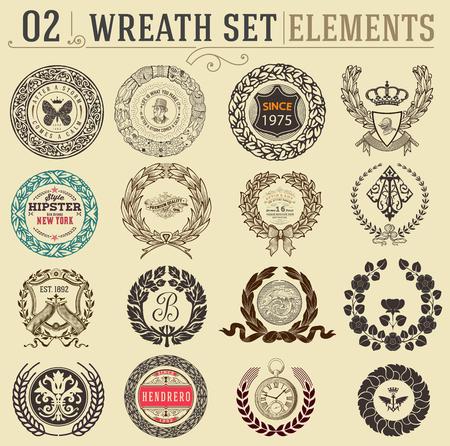 batterfly: Laurel wreath set. Design elements Illustration