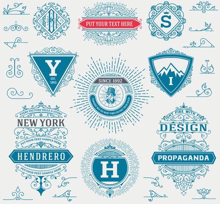 ephemera: Labels, banners and design elements set.