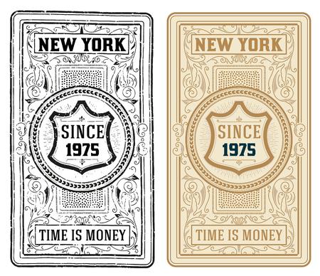 ephemera: Retro Cards Set. Rusty and clean style Illustration