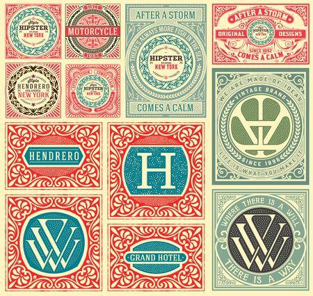 ephemera: Retro cards set. Elements organized by layers.